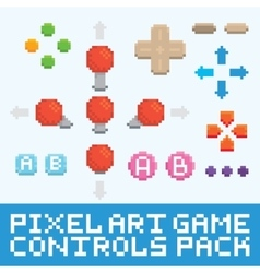 Pixel art game controls and buttons set vector image