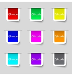Qr-code sign icon Scan code symbol Set of colored vector