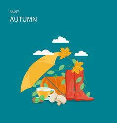 rainy autumn flat style design vector image