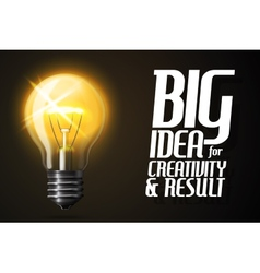 Realistic glowing light bulb Banner with vector