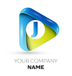 realistic letter j logo colorful triangle vector image