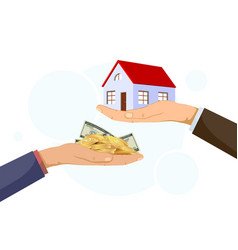 realtor holds building buyer gives money vector image