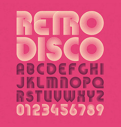 Retro style alphabet and numbers vector