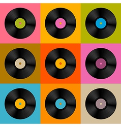 Retro Vintage Vinyl Record Disc Background vector image