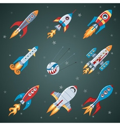 Rockets Flat Icon Set vector image