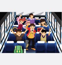 school children singing and dancing inside vector image