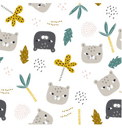 seamless childish pattern with funny leopard faces vector image