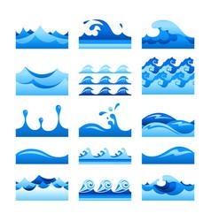 seamless gradient blue water wave tiles set vector image