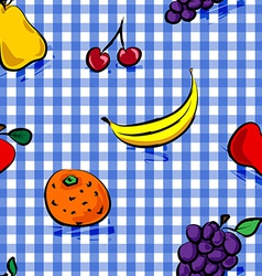 Seamless grungy fruits over blue gingham pattern vector image
