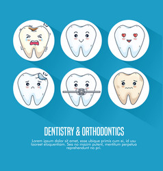Set dentistry treatment and teeth medical vector