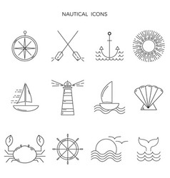 set nautical graphic icons in thin line style vector image