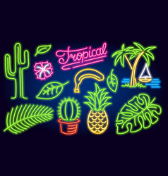 Set neon signs and icons cactus and pineapple vector