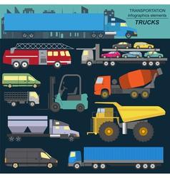 Set of elements cargo transportation trucks lorry vector