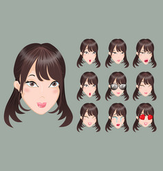 Set of emoticons asia girls vector