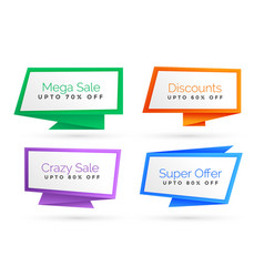 set of origami style sale banner vector image