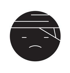 sick emoji black concept icon sick emoji vector image