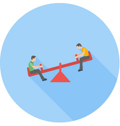 Sitting on seesaw vector