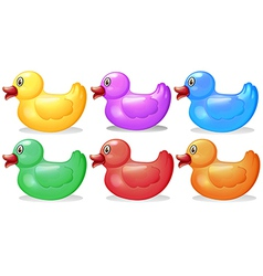 Six colorful rubber ducks vector