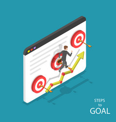 steps to goal isometric flat concept vector image