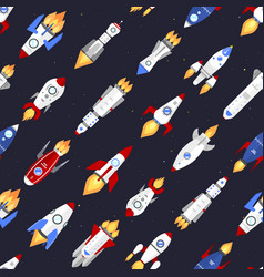 Technology ship rocket cartoon seamless vector