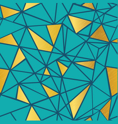Turquoise blue and gold foil geometric vector
