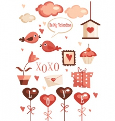 valentine elements vector image