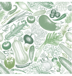 Vegetables seamless pattern retro engraved vector