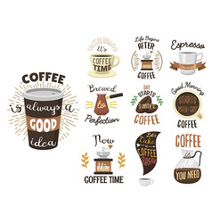 Vintage coffee shop labels ribbon logo and badges vector