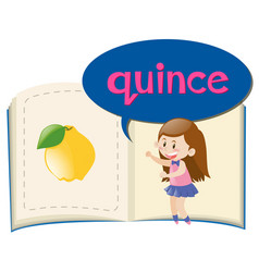 Vocabulary book with word quince vector