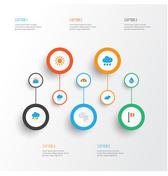 Weather flat icons set collection of storm vector