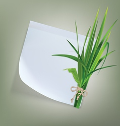 White paper with grass and flowers vector