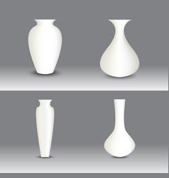 White vase set object vector