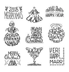 winter typographic set vector image