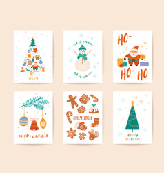 winter xmas greeting card template merry vector image
