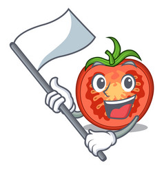 with flag red tomato slices isolated on mascot vector image