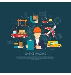 Worldwide logistics operations concept flowchart vector