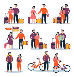 young cople with bicycle map bag ready for travel vector image