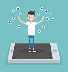 Young successful man standing on mobile screen vector