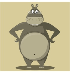 Cartoon Hippo with Glasses vector image