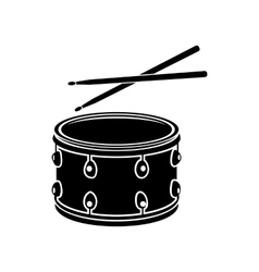 Drum with sticks icon black simple style vector image