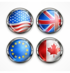 Flag round icons vector image
