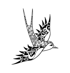 Hand drawn tribal Swallow bird totem for adult vector image