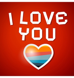 I Love You Title and Paper Heart on Red Background vector image vector image