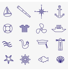 nautical blue simple outline icons set eps10 vector image
