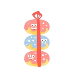 Pile Of Three Doughnuts With Ribbon Children vector image vector image