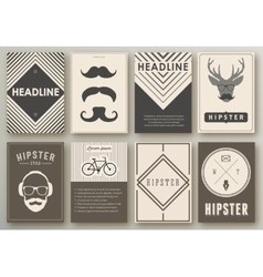Set of brochures in hipster style vector image vector image