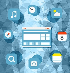 Web browser information transfer concept vector image
