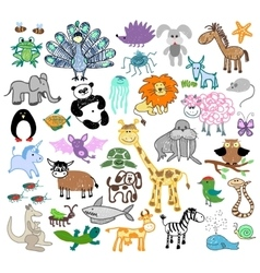 Childrens drawing doodle animals vector image