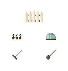 flat icon dacha set of harrow hothouse wooden vector image vector image