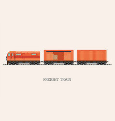 freight train cargo cars isolated on background vector image